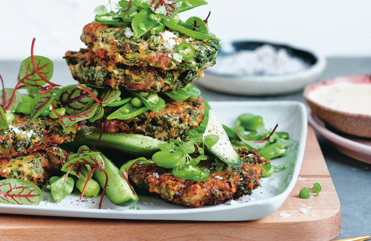 Kale, prosciutto and goat's cheese fritters