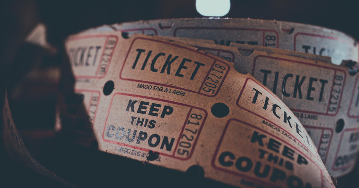 Closeup of movie tickets