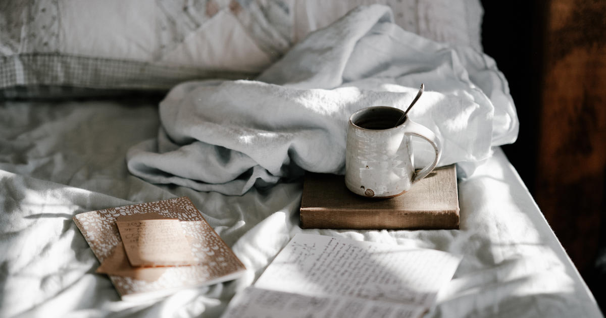 Winter bed with books